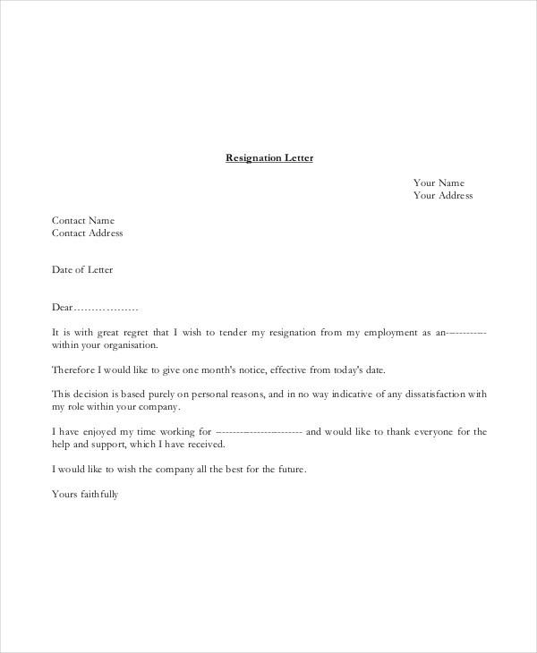 basic resignation letter template uk  Basic Resignation Letter Template - 17+ Free Word, PDF ..