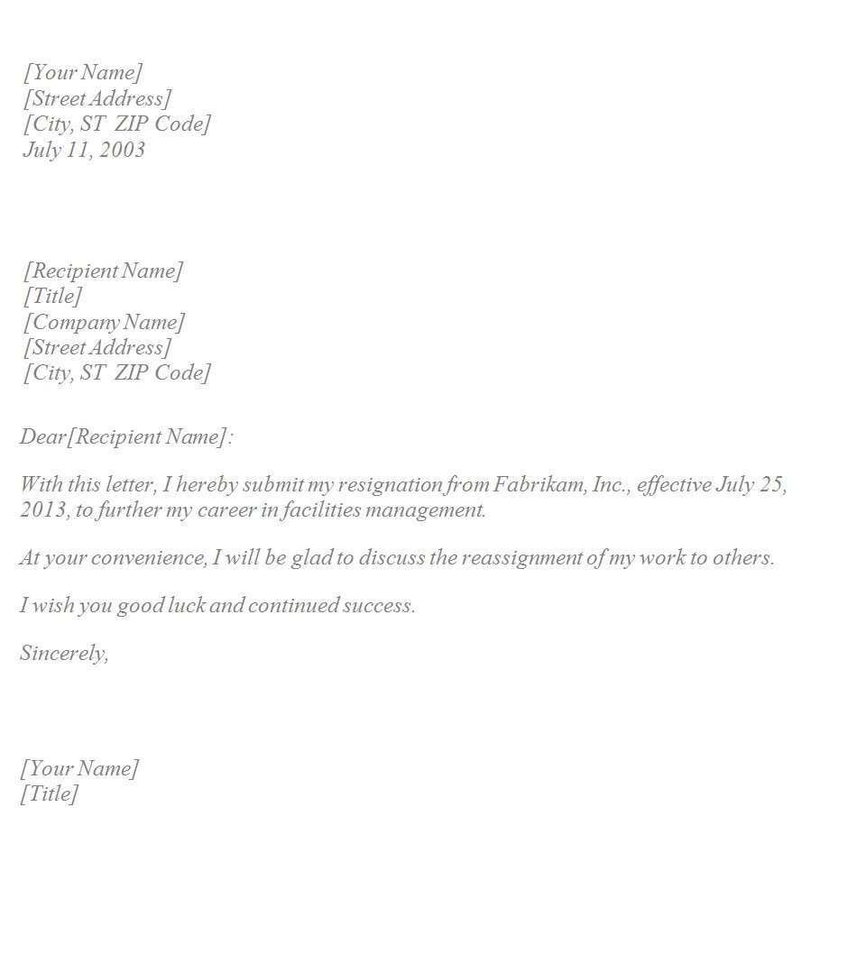 basic resignation letter template uk  Basic Resignation Letter ~ Template Sample - basic resignation letter template uk