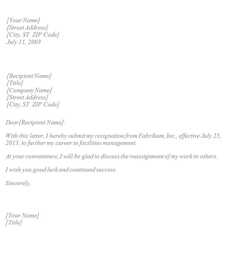 resignation letter template basic  Basic Resignation Letter ~ Template Sample - resignation letter template basic