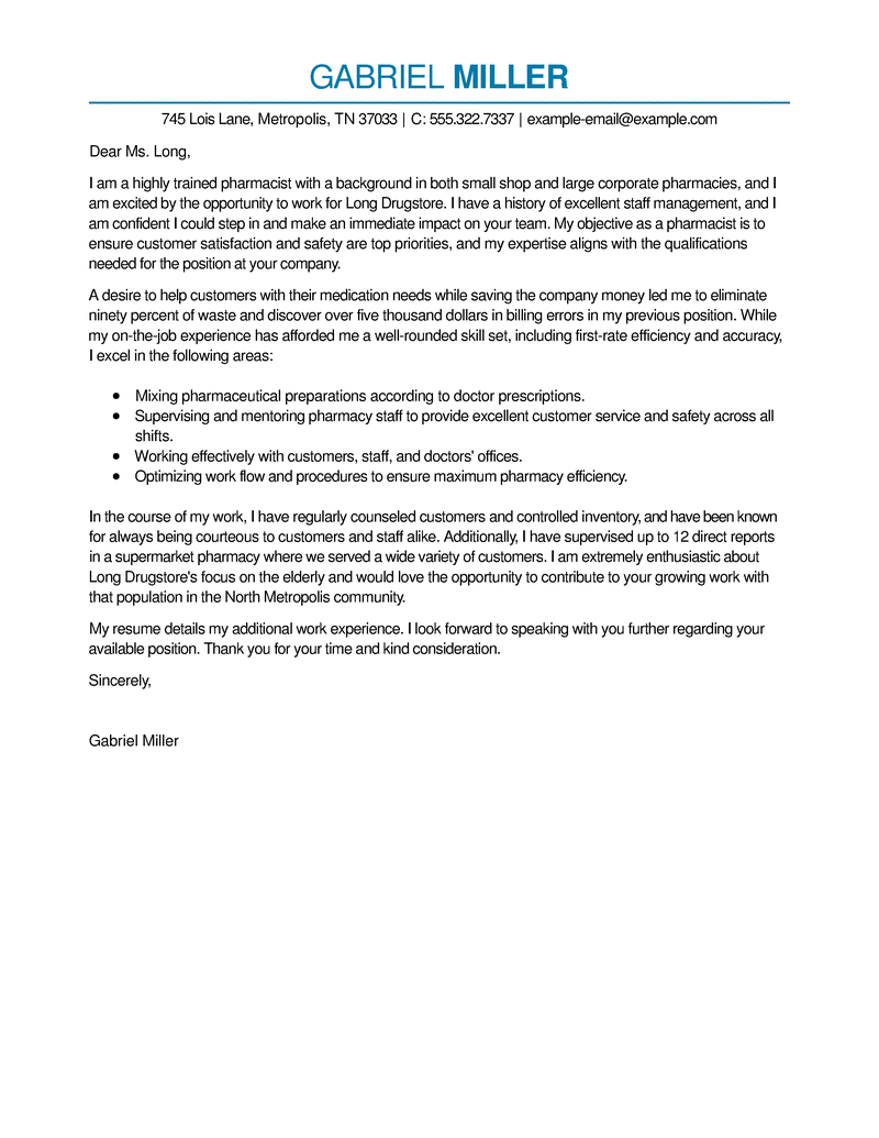 resignation letter template australia fair work  Best Pharmacist Cover Letter Examples | LiveCareer - resignation letter template australia fair work