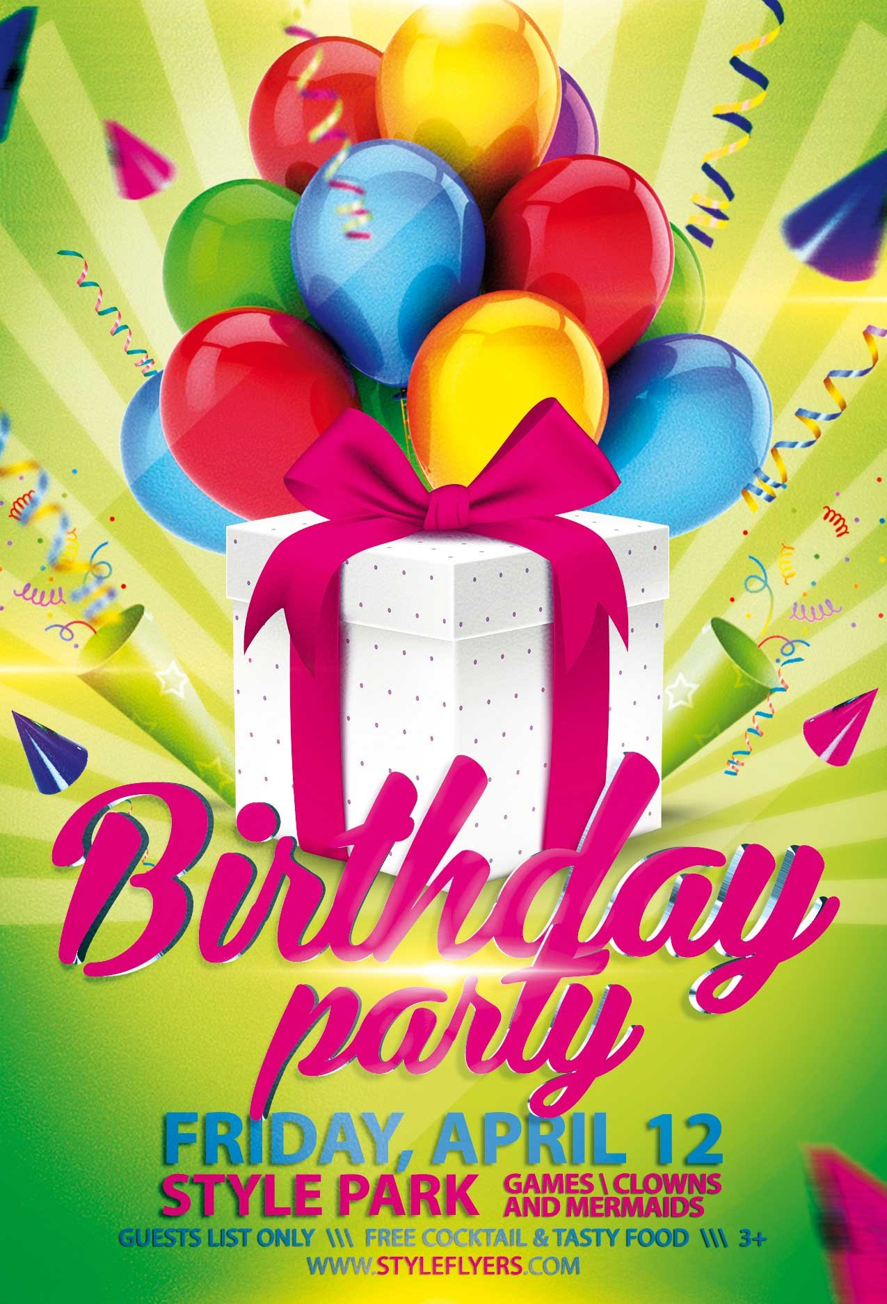 happy birthday flyer template  Birthday Party PSD Flyer Template with animated fully ..