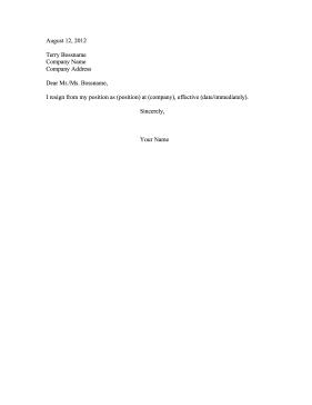 brief resignation letter template  Brief Resignation Letter - brief resignation letter template