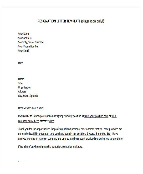 resignation letter template executive  Business Resignation Letter Template - 10+ Free Word, PDF ..