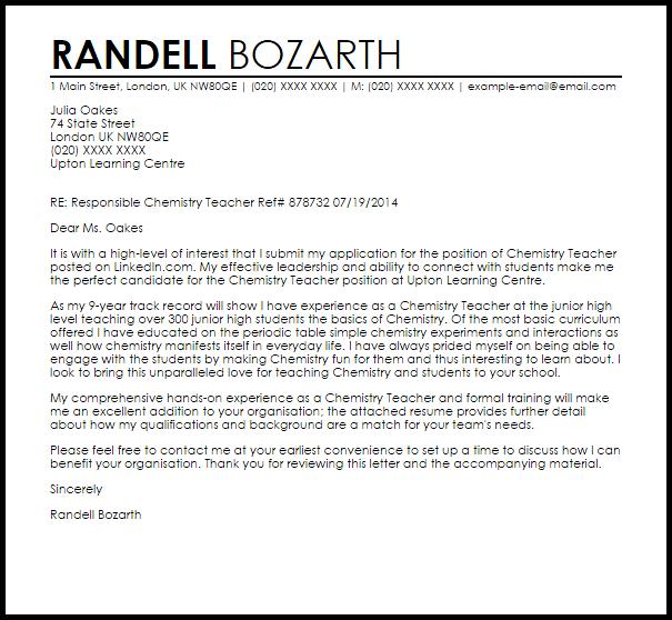 recommendation letter chemistry teacher  Chemistry Teacher Cover Letter Sample | Cover Letter ..