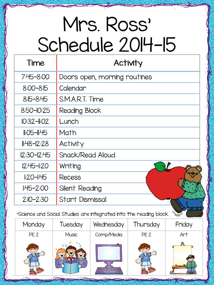class schedule template elementary  Class Schedule - Freebie! - Teacher by the Beach - class schedule template elementary