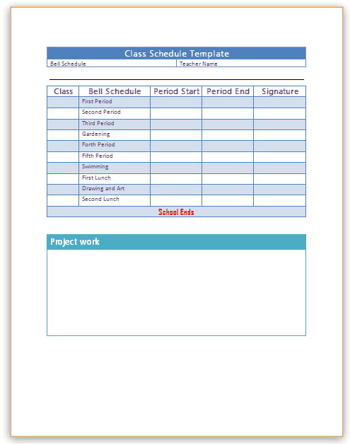 class schedule template microsoft word  Class Schedule Template - Microsoft Word Templates - class schedule template microsoft word