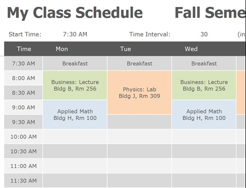class schedule template free download  Class Schedule Templates | 11+ Free Printable Word, Excel ..