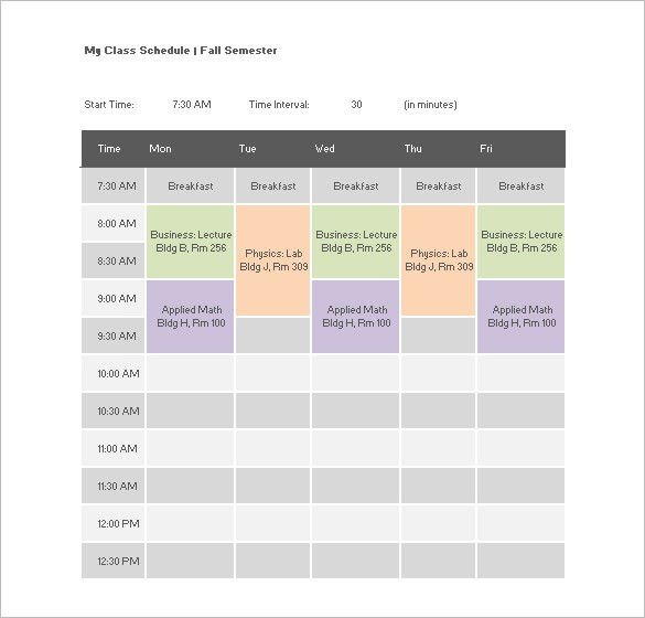 class schedule template free download  College Class Schedule Template – 7+ Free Word, Excel, PDF ..