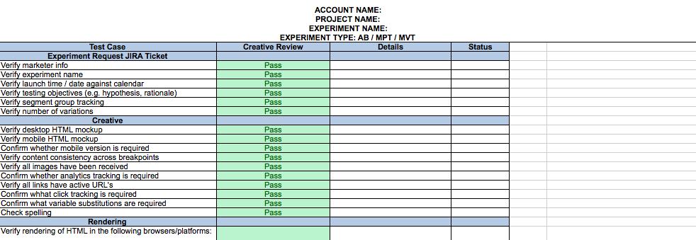 qa checklist template  Create an advanced experiment plan and QA checklist ..