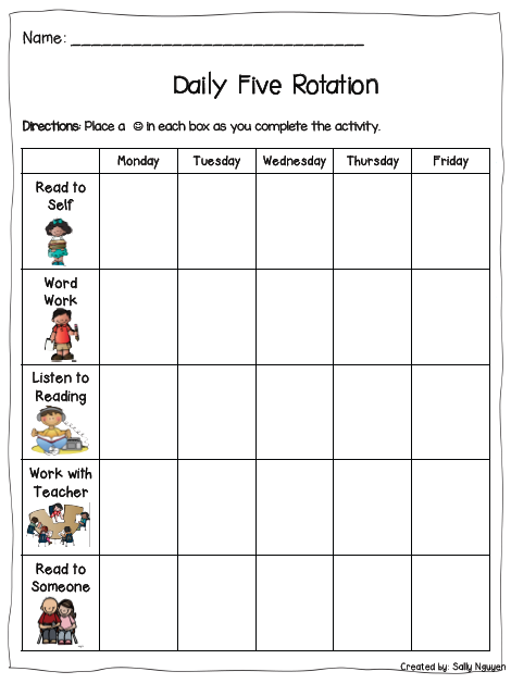 schedule template kids five  Daily Five Student Recording Sheet | Daily five, Daily 5 ..