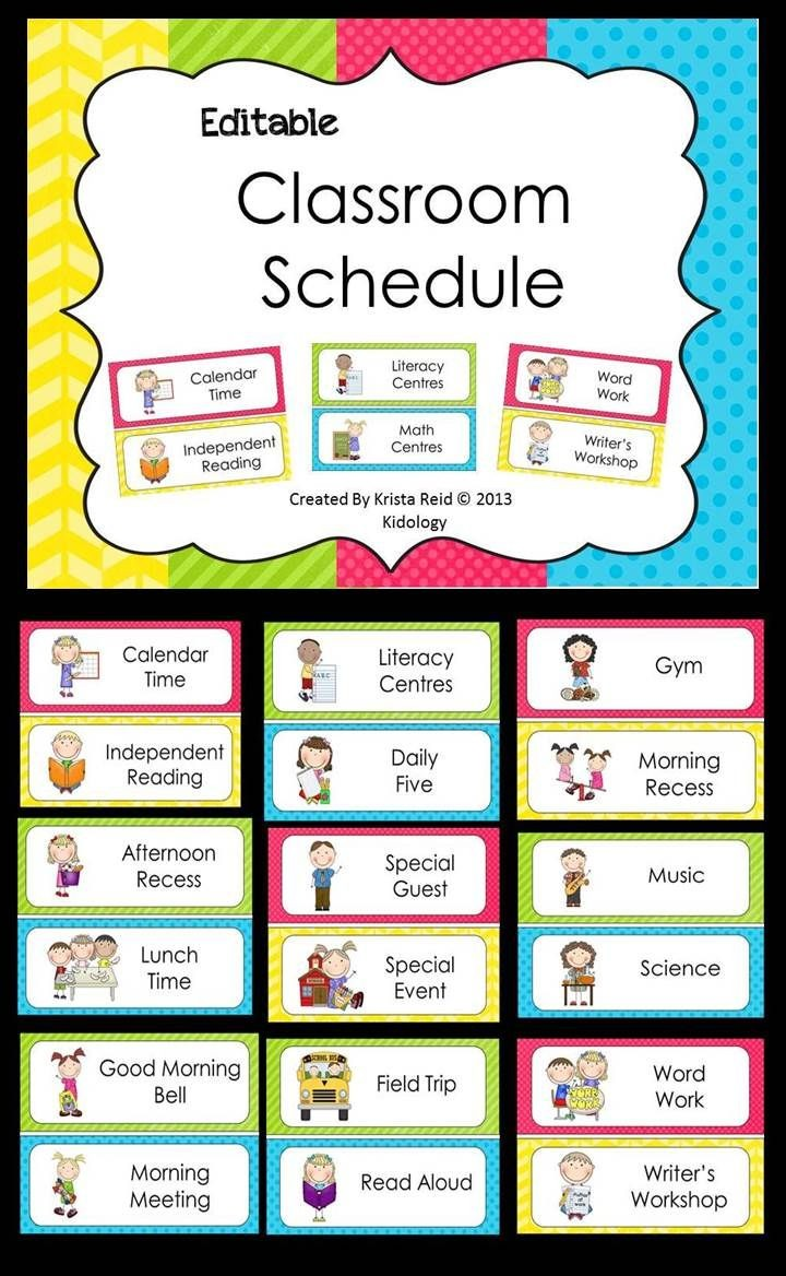 class schedule template for preschool  Daily Schedule Ideas for Pre-K | Mrs