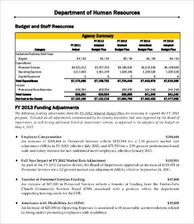 hr department budget template  Departmental Budget Template - hr department budget template