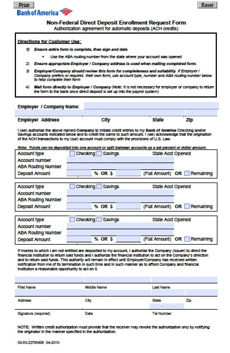 direct deposit form bank of america online  Download Bank of America Direct Deposit Form | PDF ..