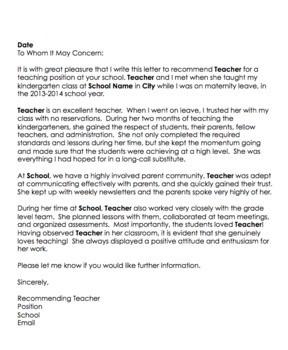 recommendation letter for teacher colleague  Editable Teacher Letter of Recommendation! {from a ..