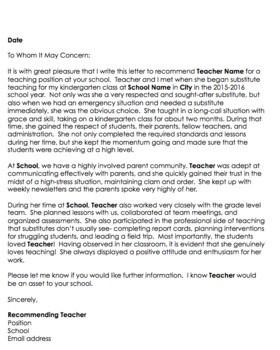 recommendation letter teacher colleague  Editable Teacher Letter of Recommendation! {from a ..