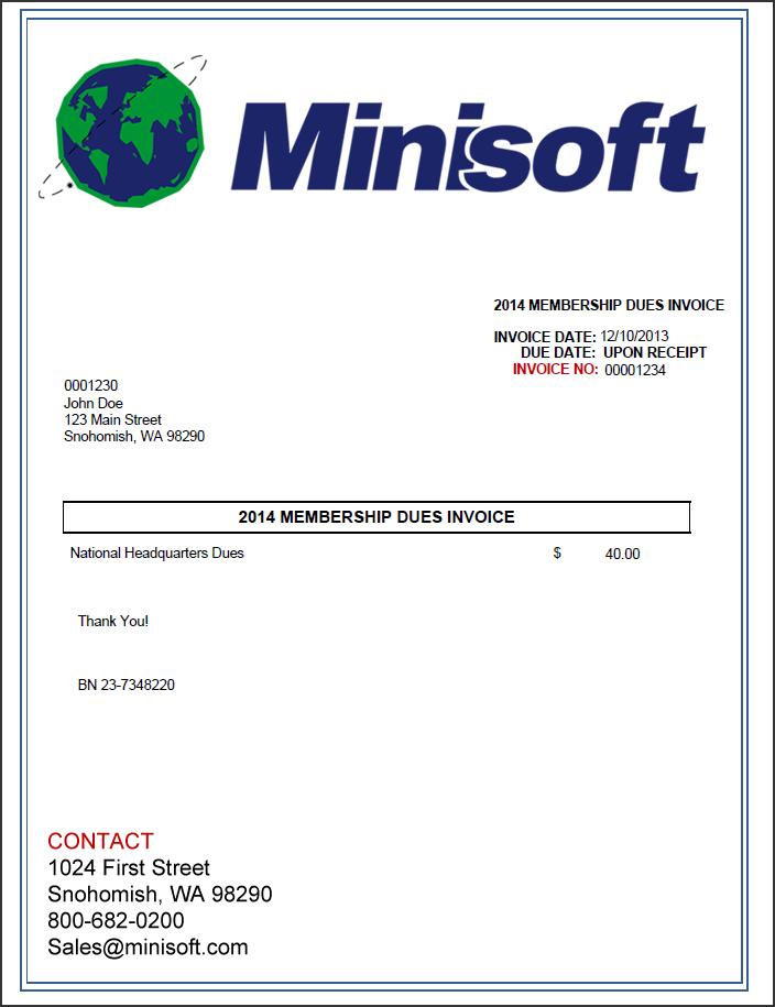 sample homeowners association dues invoice  eFORMz for Aptean | Minisoft, Inc