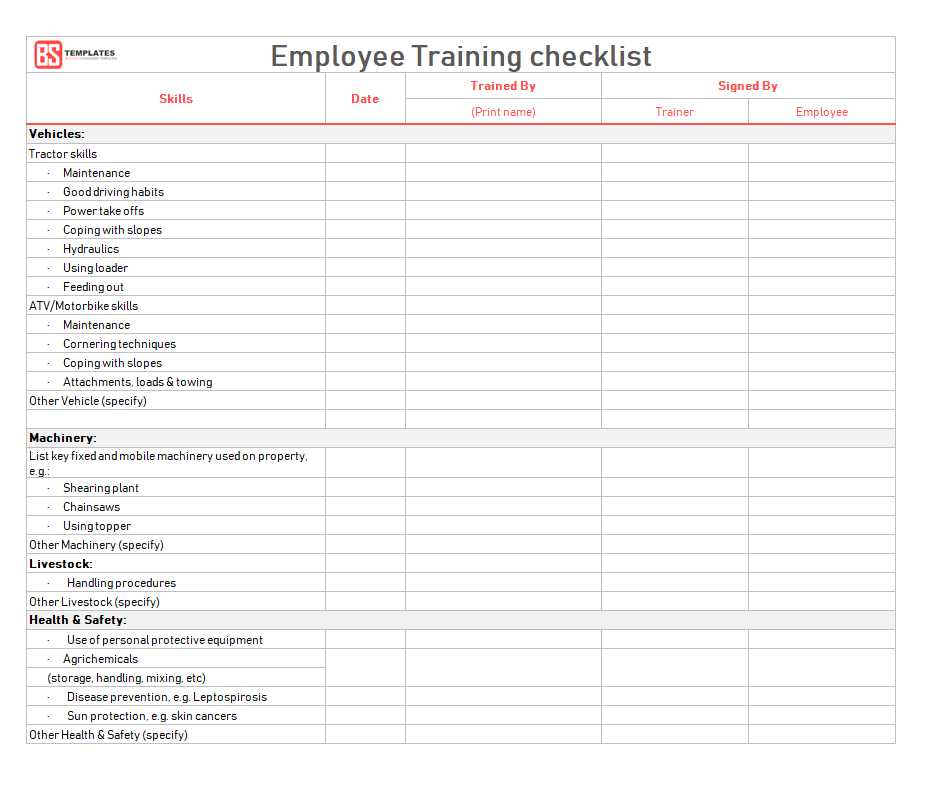 employee training checklist template  Employee Training Checklist Template for Excel & Word ..