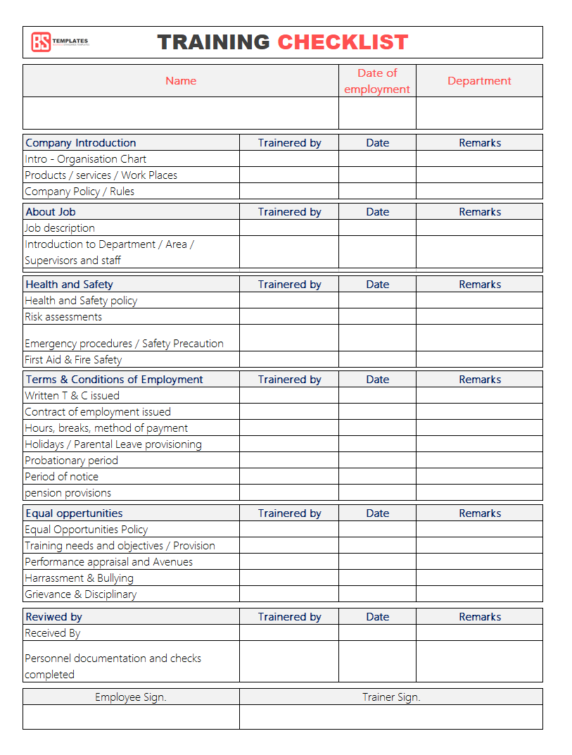 training checklist template  Employee Training Checklist Template for Excel & Word ..