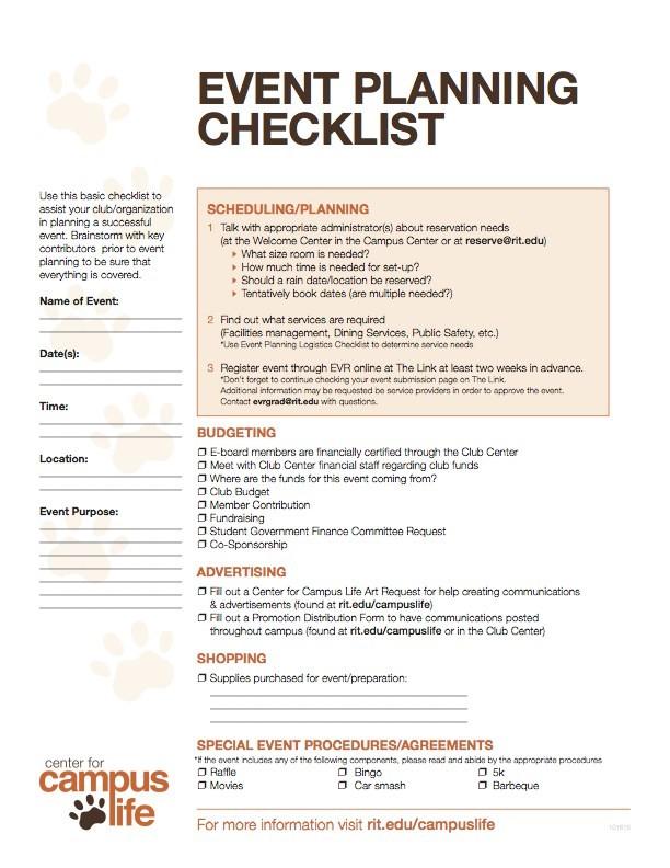 logistics checklist template  Event Planning Checklist & Logistics | Center for Campus Life - logistics checklist template