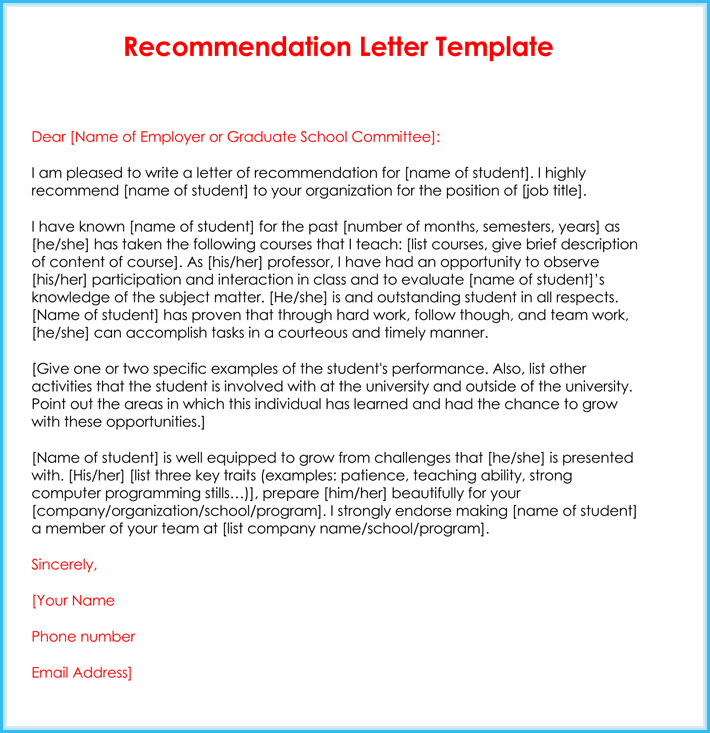 recommendation letter by teacher  Example Reference Letter For Student Teacher - Sample ..