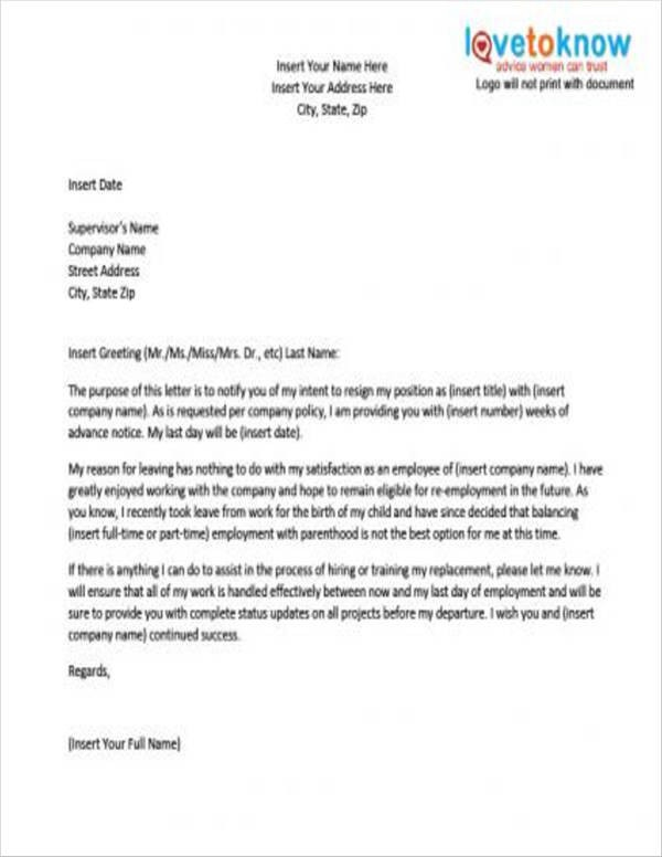 resignation letter template after maternity leave  FREE 10+ Pregnancy Resignation Letters in PDF   Word ..