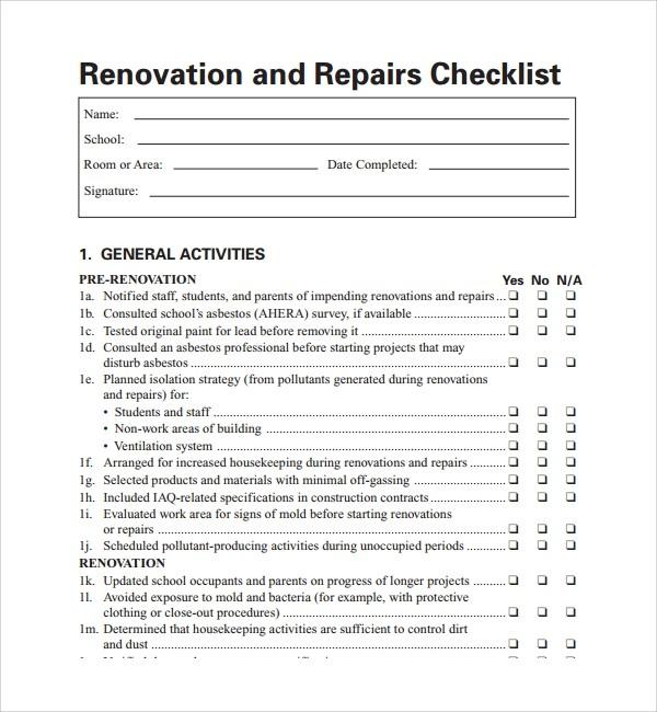 checklist template home renovation checklist excel  FREE 11+ Sample Renovation Checklist Templates in PDF - checklist template home renovation checklist excel