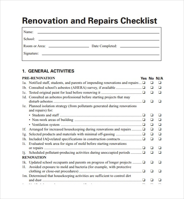checklist template whole house renovation checklist  FREE 11+ Sample Renovation Checklist Templates in PDF - checklist template whole house renovation checklist