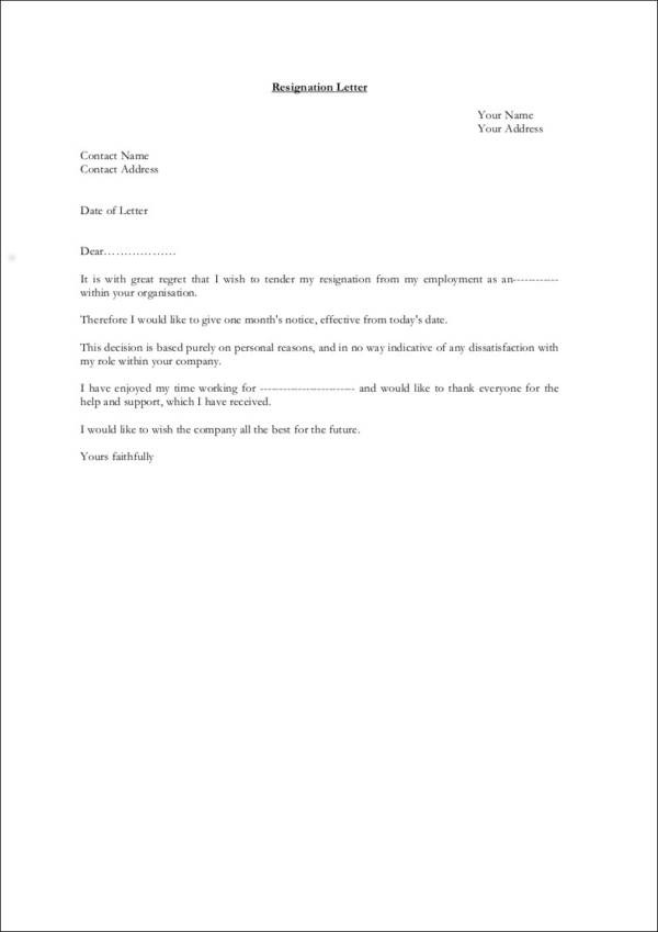 resignation letter template alberta  FREE 37+ Printable Resignation Letter Samples in PDF   MS ..