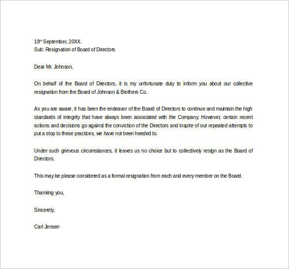 resignation letter template for board of directors  FREE 43+ Formal Resignation Letters Templates in PDF | MS ..