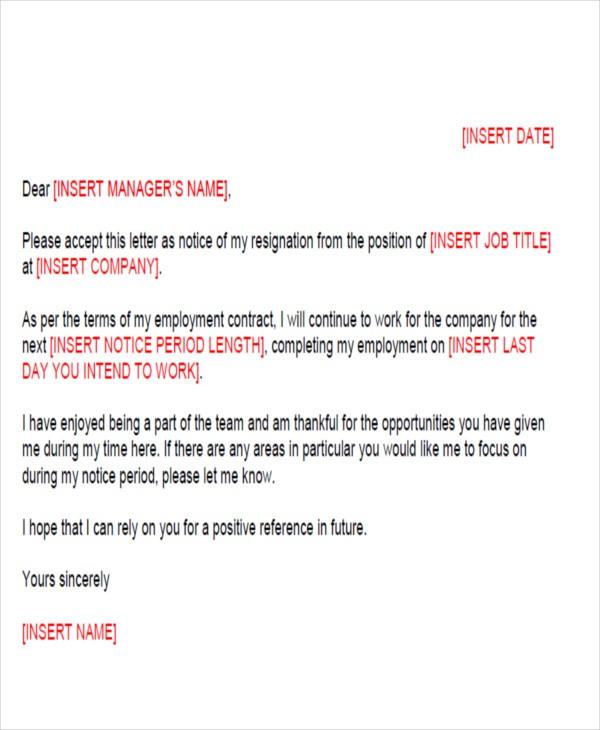 resignation letter template ireland  FREE 64+ Sample Resignation Letter Templates in PDF | MS Word - resignation letter template ireland