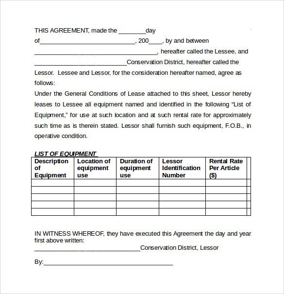 free equipment rental agreement form template  FREE 7+ Equipment Lease Agreement Templates in MS Word ..