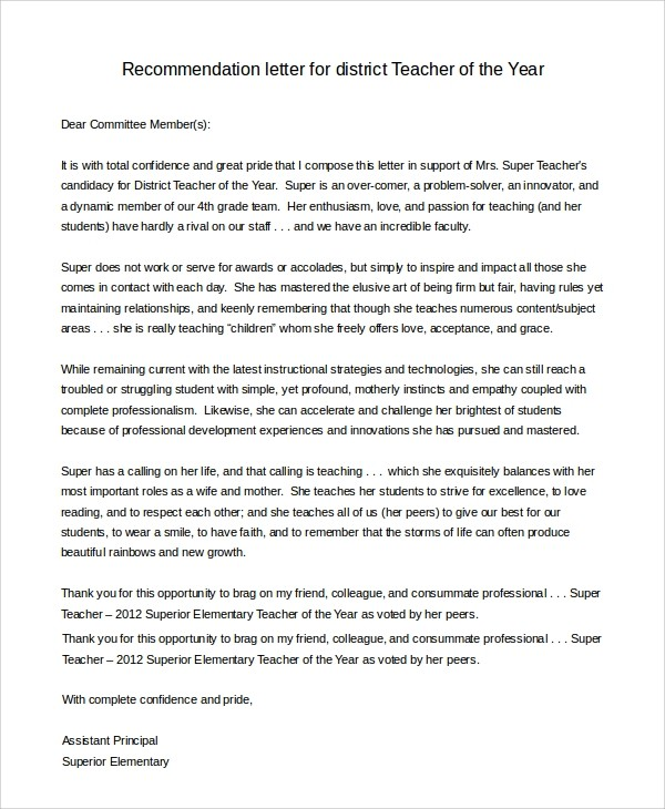 recommendation letter for teacher of the year  FREE 7+ Sample Letter of Recommendation for Teacher in PDF ..