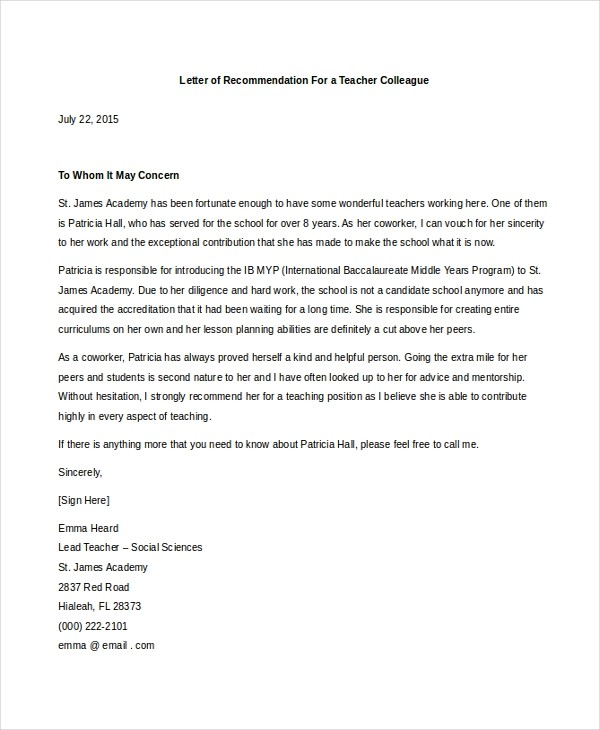 recommendation letter for teacher colleague 4 ideas to
