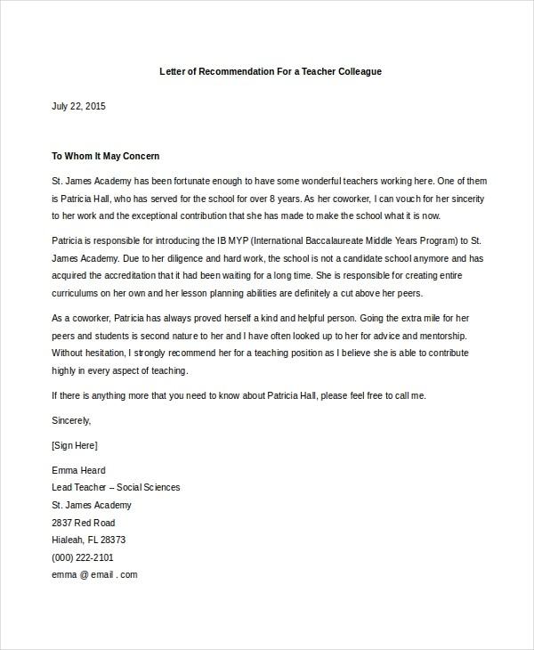 recommendation letter for teacher colleague  FREE 7+ Sample Teacher Letters of Recommendation in PDF ..