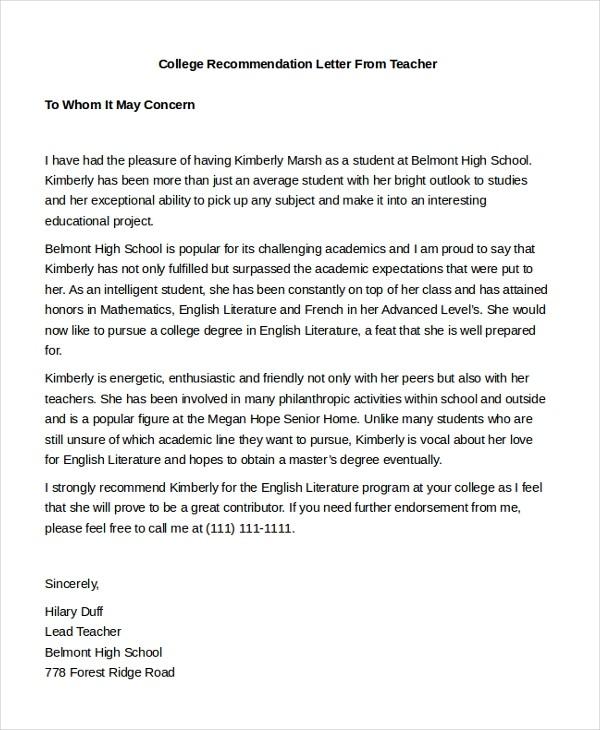 recommendation letter for master teacher  FREE 7+ Sample Teacher Recommendation Letters in PDF   MS Word - recommendation letter for master teacher