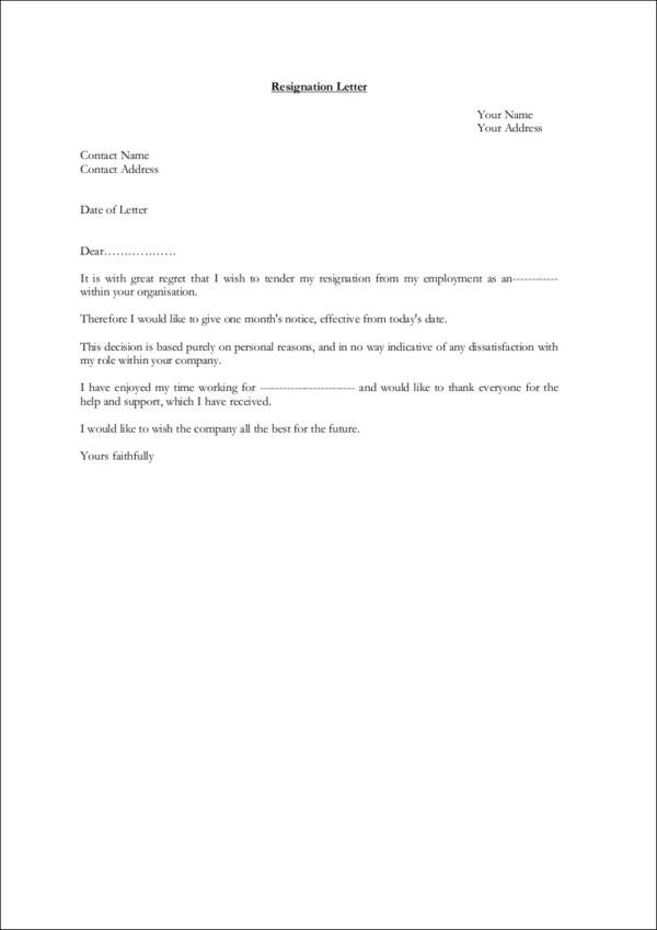resignation letter template copy paste  FREE 9+ Resignation Notice Samples & Templates in Word | PDF - resignation letter template copy paste