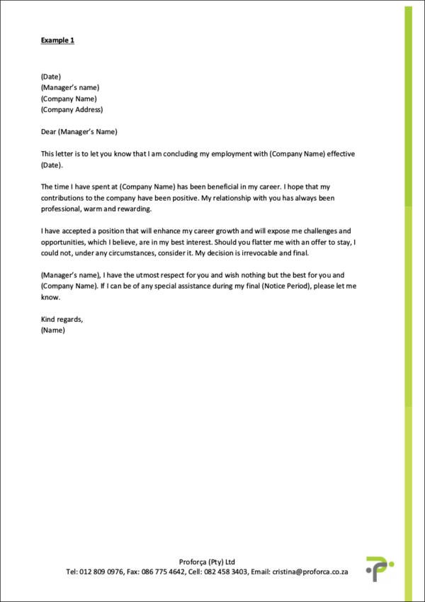 classy resignation letter template  FREE Always Make Your Resignation Letter Polite [ With ..