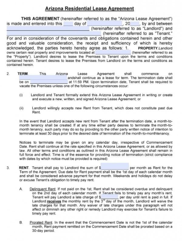 free arizona rental lease agreement form  Free Arizona Residential Lease Agreement | PDF | Word (