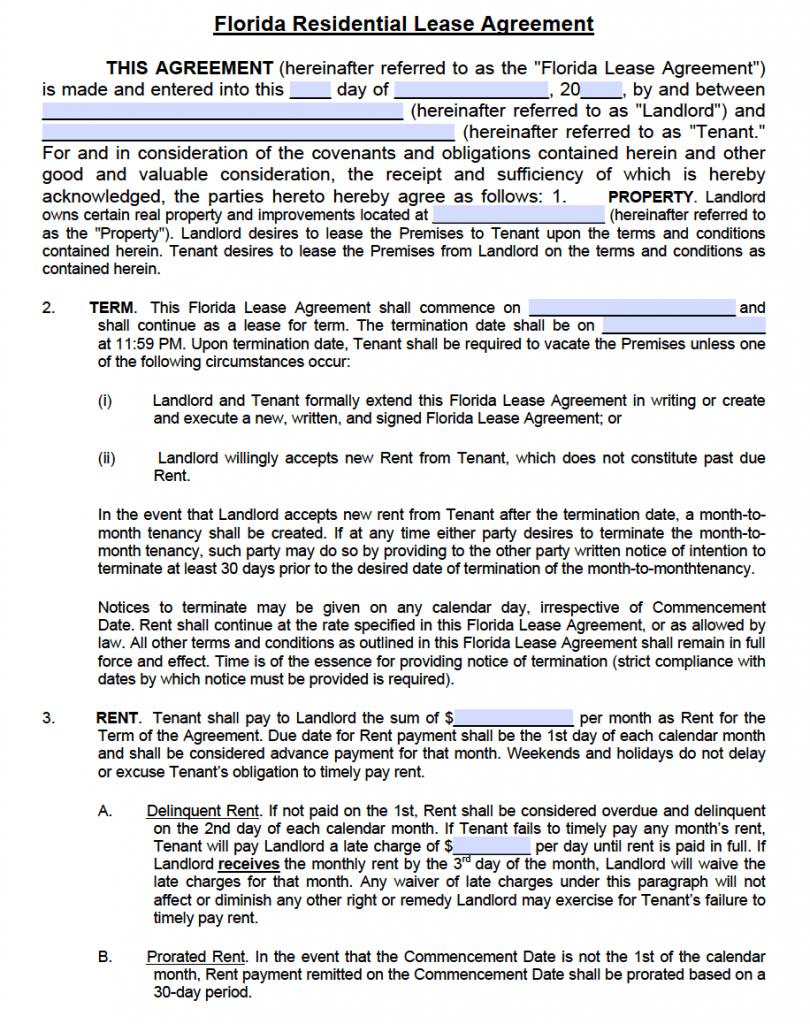 free rental agreement form florida .pdf  Free Florida Residential Lease Agreement Template – PDF – Word - free rental agreement form florida