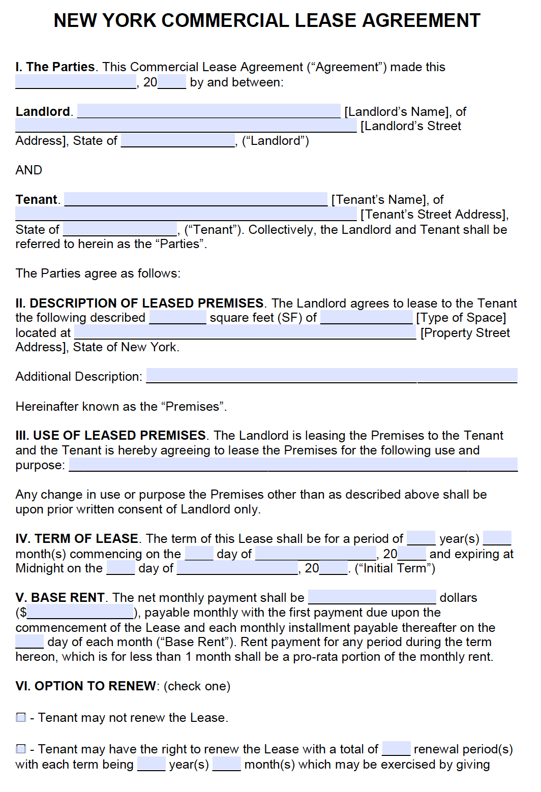 printable rental lease agreement form for free  Free New York Commercial Lease Agreement – PDF – Word - printable rental lease agreement form for free