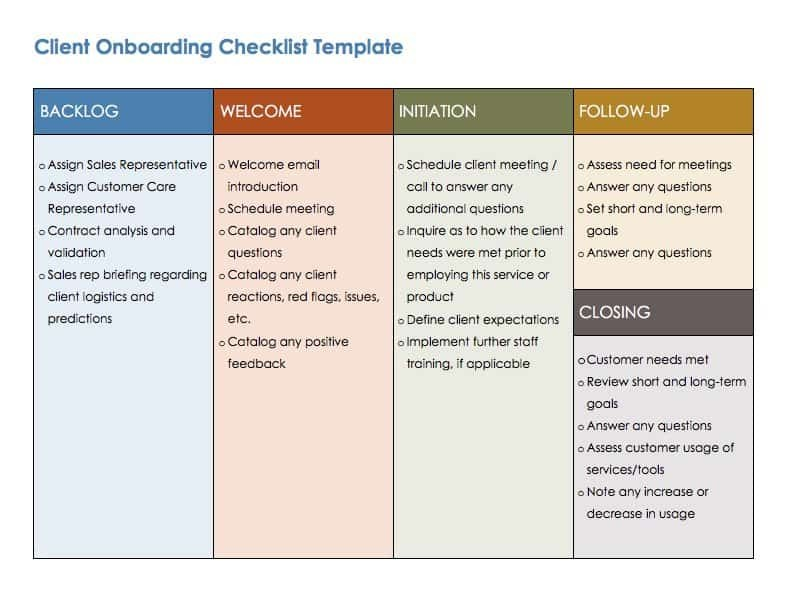new client checklist template  Free Onboarding Checklists and Templates | Smartsheet - new client checklist template