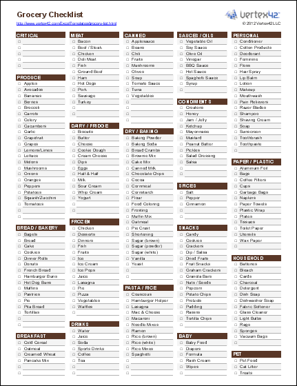 editable grocery checklist template  Free Printable Grocery List and Shopping List Template - editable grocery checklist template