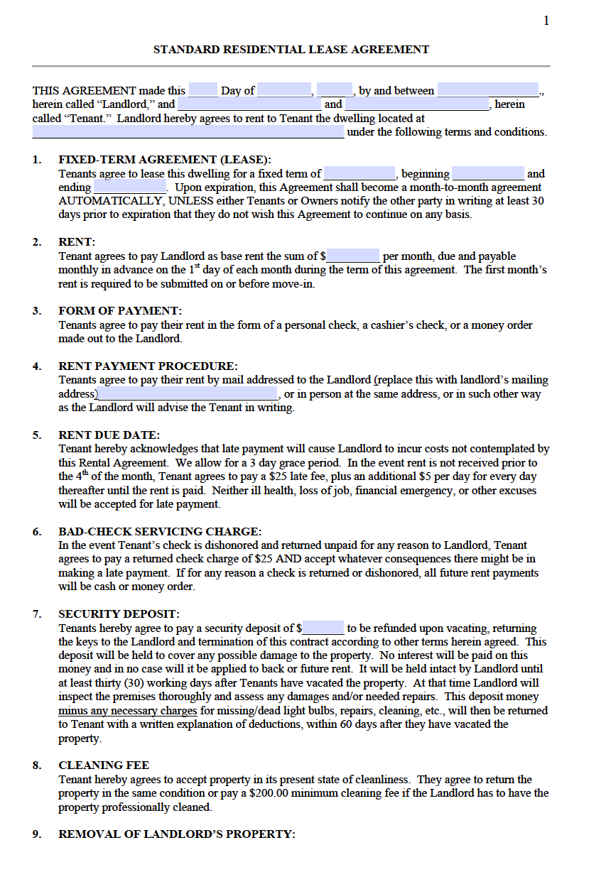 free lease agreement form ontario  Free Standard Residential Lease Agreement Templates | PDF ..