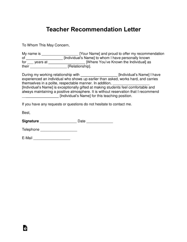 recommendation letter for teacher certification  Free Teacher Recommendation Letter Template - with Samples ..