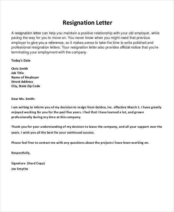 good resignation letter template  FREE Thank-You Resignation Letters and Pointers for ..