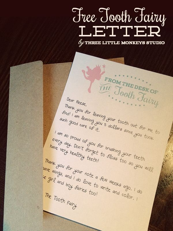 customizable tooth fairy letter template  Free Tooth Fairy Letter by Three Little Monkeys Studio ..