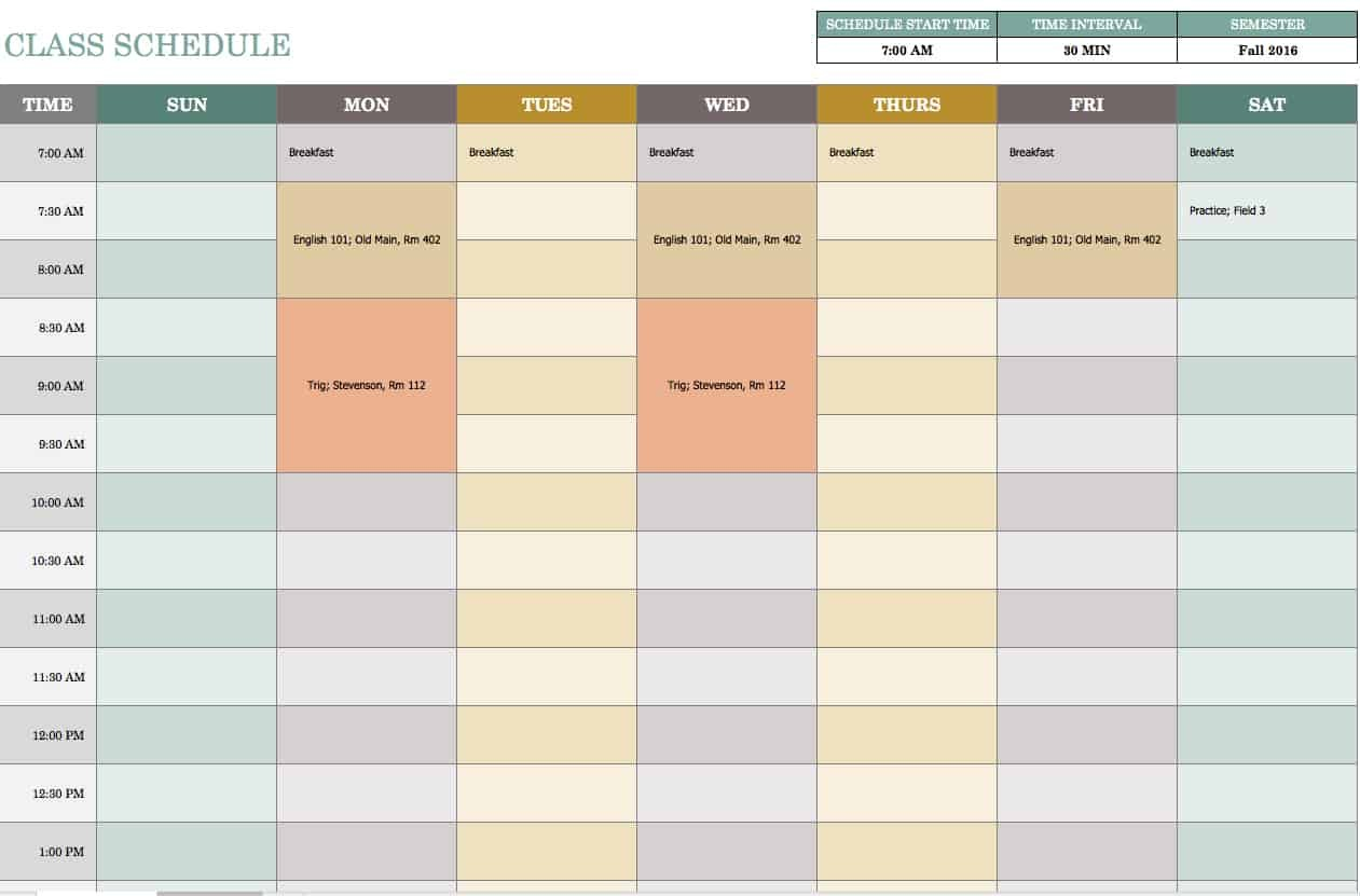 class schedule template free download  Free Weekly Schedule Templates For Excel - Smartsheet - class schedule template free download