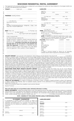 free printable rental agreement form word  Free Wisconsin Rental Lease Agreements | Residential ..