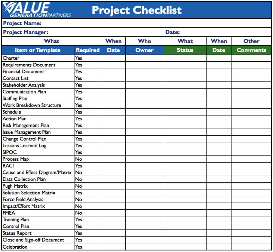 project management checklist template  Generating Value by Using a Project Checklist – Value ..