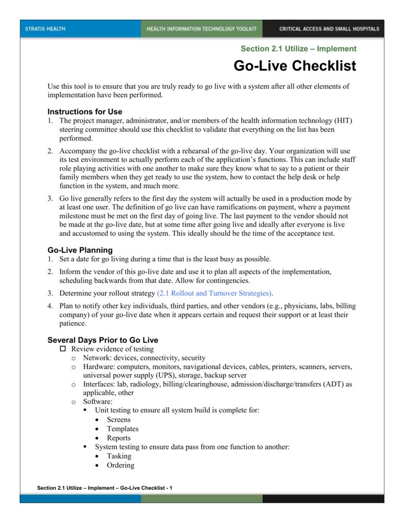 go live checklist template  Go-live Checklist doc - go live checklist template